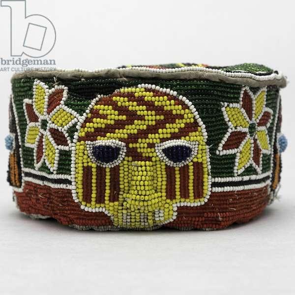 Coronet (Orikogbofo) Yoruba people, Nigeria, late 19th-early 20th century (glass beads & textile)