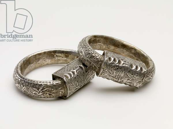 Anklets, from Djerba, Tunisia, mid 20th century (silver with repousse)