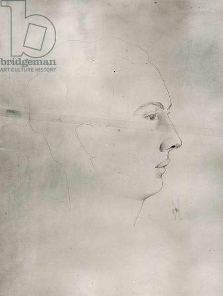 Portrait of Andre Pieyre de Mandiargues (1909-91) 1933 (pencil on paper) (b/w photo)