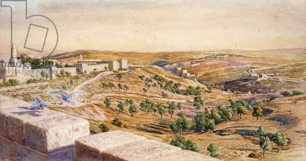The Walls of Jerusalem, 1869 (w/c on paper)