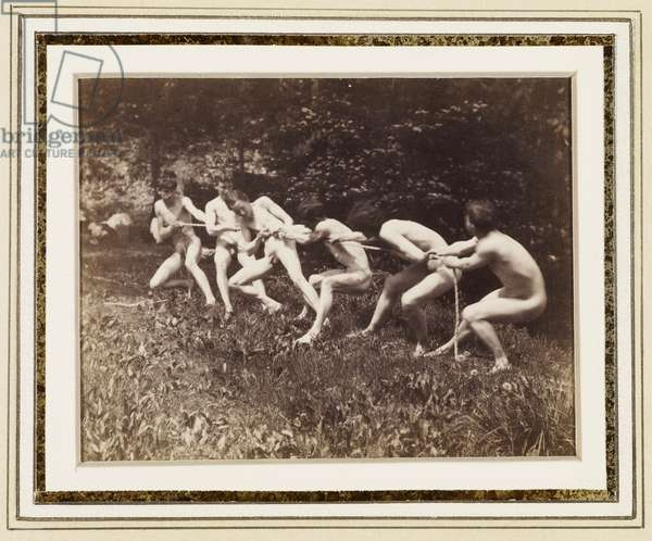 Male Nudes in Standing Tug of War, Outdoors, c.1883 (albumen print)