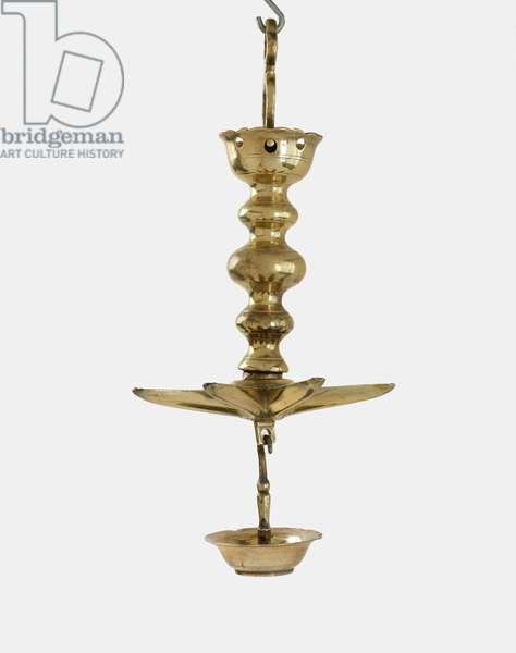 Hanging Sabbath lamp (Judenstern) (brass, cast)