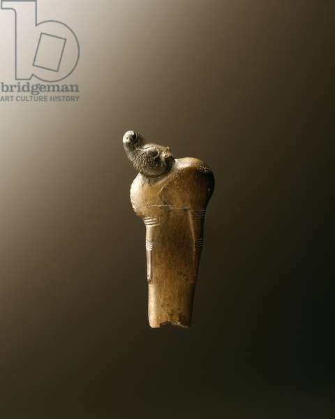 Handle with animal figure, HaNahal Cave, Mt. Carmel, Natufian Culture (bone)
