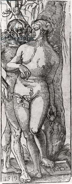 Adam and Eve, 1519 (woodcut) (b/w photo)