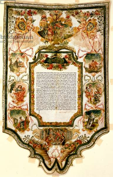 Marriage contract (ketubbah) Rome, Italy, 1734 (pen & ink and tempera on parchment)
