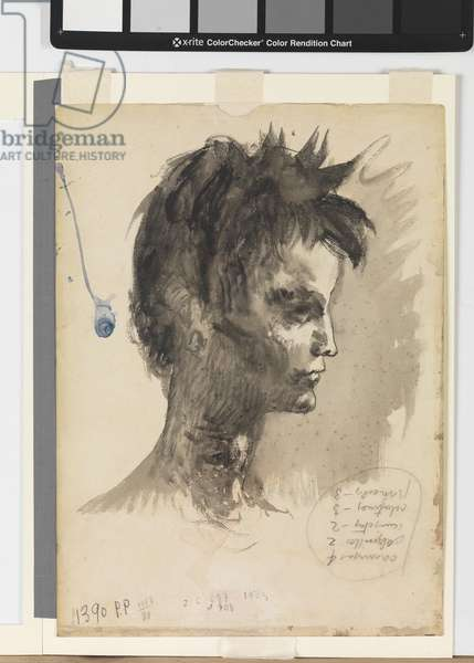 Portrait of an Adolescent, 1905 (wash & w/c on paper mounted on cardboard)