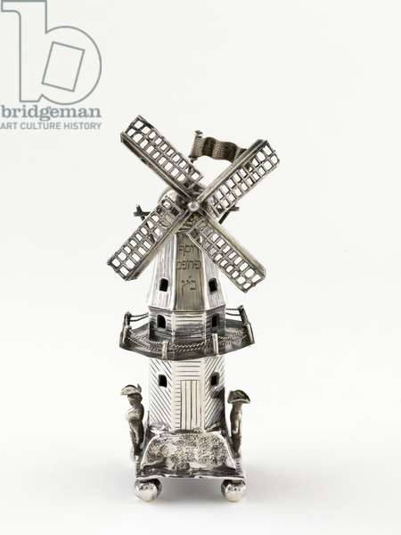 Spicebox shaped as a windmill, early 19th century (silver, repousse, cast and engraved)