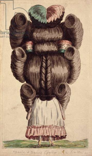 Caricature of a Dressed Woman's Back with Elaborate Hairdo, late 18th century (coloured etching & w/c on paper) (see 241363 for pair)