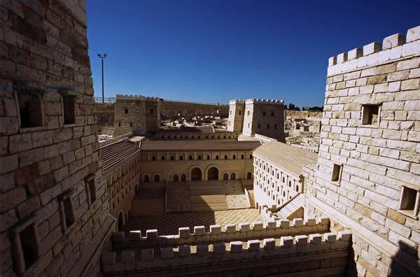 Model reconstruction of the Antonia Fortress in Jerusalem in 66 AD showing the interior court between the towers on the northern side of Temple Mount, (photo)