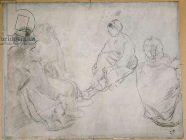 Four peasant women resting, c.1885 (charcoal on blue laid paper)
