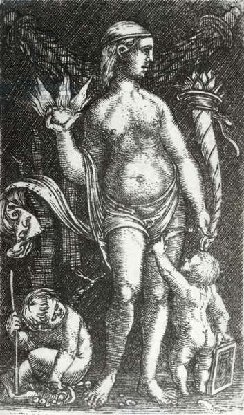 Standing Venus with Two Putti, c.1480 (engraving)