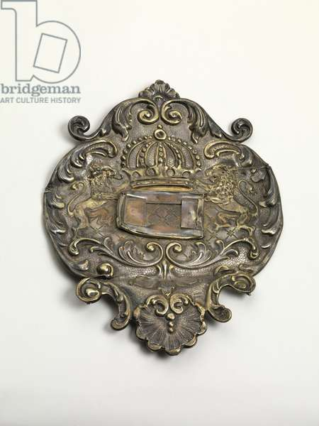 Torah shield burned on Kristallnacht, late 19th-early 20th century (silver, repousse)