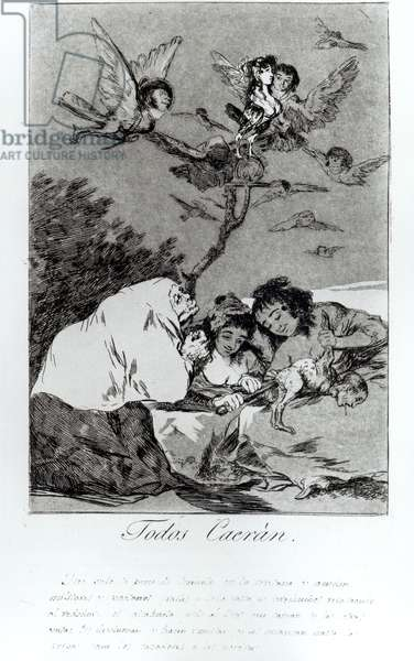 All will fall, plate 19 of 'Los caprichos' (etching & aquatint)