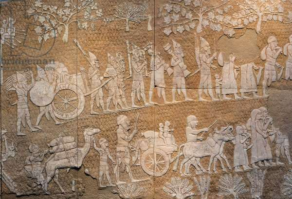 Lachish relief (copy) depicting the Assyrian siege and conquest of the town of Lachish in 701 BC, Nineveh, (stone)