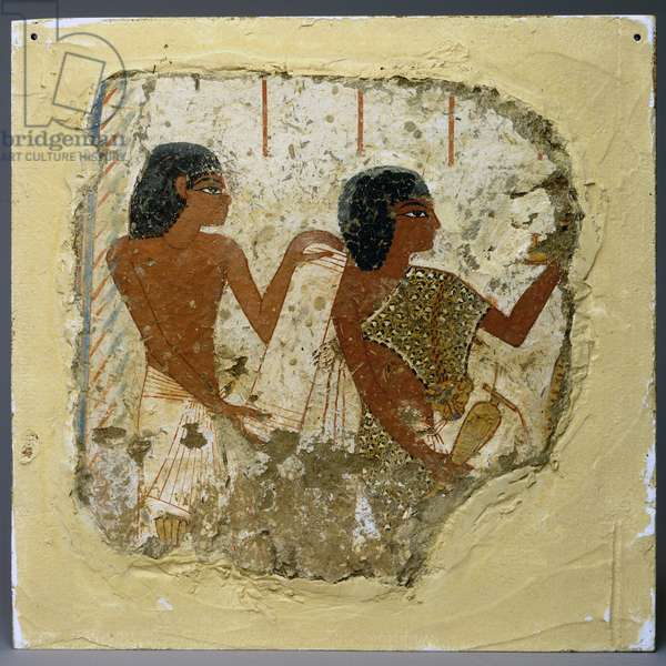 Tomb painting depicting two priests, Theban necropolis, New Kingdom, 1400-1350 BC (painted plaster)