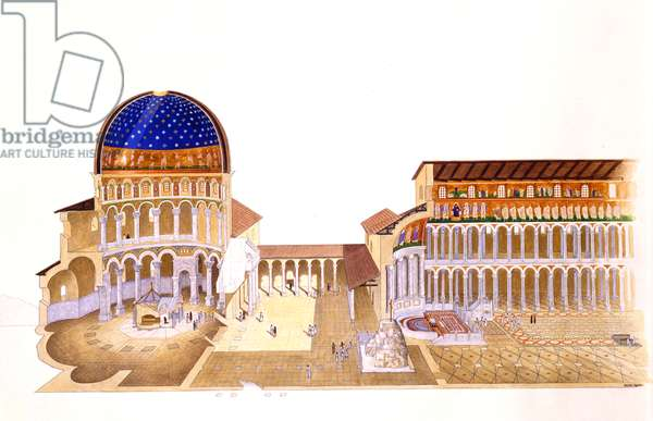 Reconstruction of the Church of the Holy Sepulchre (litho)