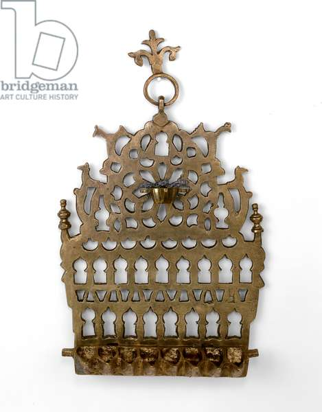 Hanukkah lamp (cast and pierced brass)