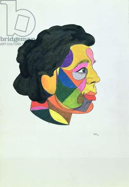 Portrait of Andre Breton (1896-1966) 1972 (Indian ink & felt tip on paper)
