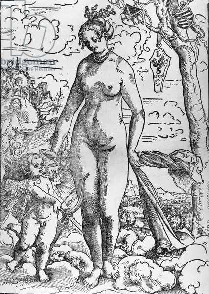 Venus and Cupid, 1506 (woodcut) (b/w photo)
