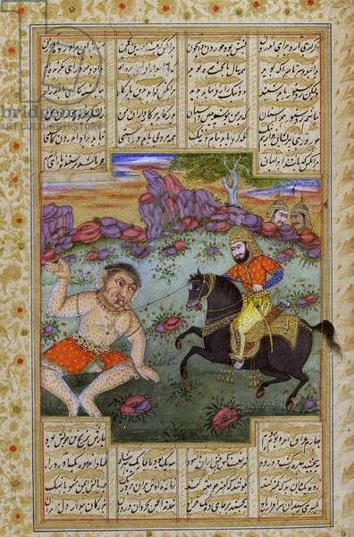 A hero catching a div (monster), from an illustrated manuscript of the Shanama by Ferdowsi (gouache on paper)