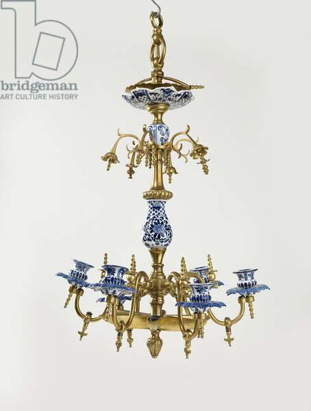 Hanging Sabbath lamp, 18th century (faience and cast brass)