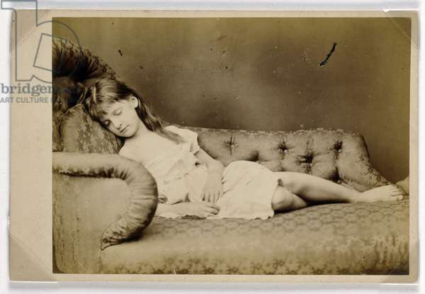 Xie Sleeping, 1874 (albumen print)
