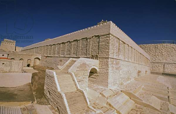 Model reconstruction of the ascent to the Temple Mount in Jerusalem in c.66 AD from the south west Robinson's Arch north of the arch of the Western Wall (photo)