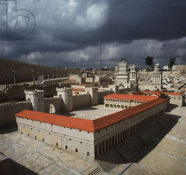 Model reconstruction of a courtyard and the Towers od the Citadel in the distance in Jerusalem in 66 AD (photo)