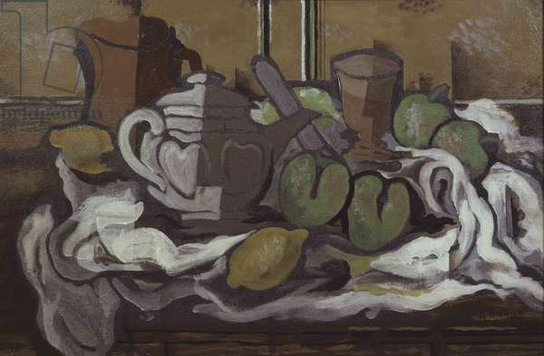 Still life with white tablecloth, 1925 (oil on masonite)