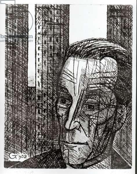 Portrait of Marcel Duchamp (1887-1968) 1952 (etching)