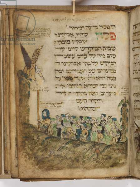 Illustration from the 'Yahuda Haggadah', Franconia, 1470-80 (brown ink with gold & silver leaf on parchment)