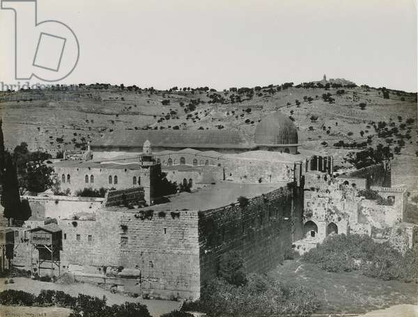 Panoramic View of the Temple Mount, 1850s (vinatge silver print)