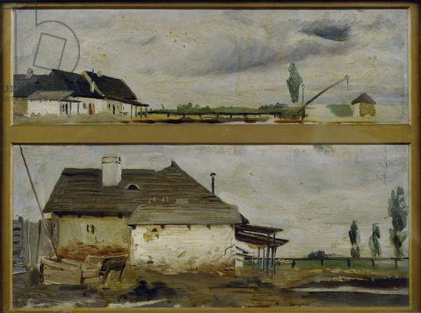 Two Views of the same Farm (oil on canvas)