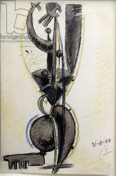 Female Figure, 1940 (pencil, Indian ink & waxy crayon on paper)