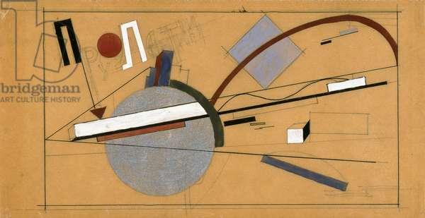 Proun, 1920 (gouache, ink, silver paint & pencil on paper)