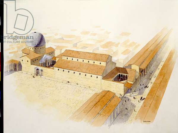 Reconstruction of the Church of the Holy Sepulchre (colour litho)