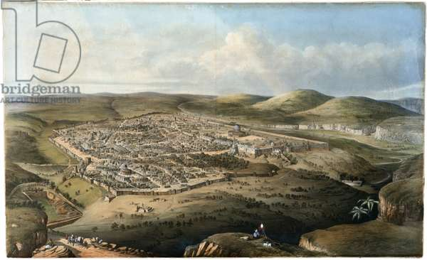 Jerusalem, View from above the Valley of Hinnom (colour litho)