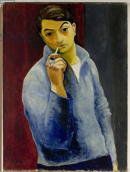 Self Portrait with a Pipe (oil on canvas)