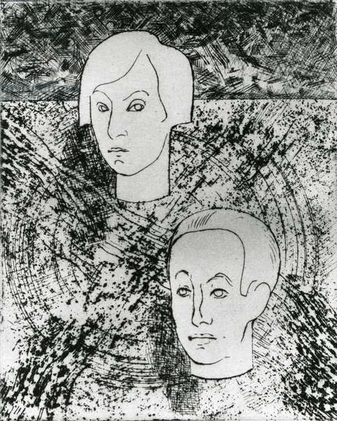 Portrait of Paul (1895-1952) and Gala (1894-1982) Eluard, 1926 (etching & drypoint) (b/w photo)