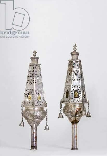 Torah finials (Rimmonim), Tripoli (silver)