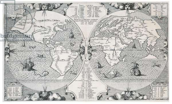 World map, from 'Biblia Sacra Hebraice, Chaldaice, Graece, & Latine', published in the late 1560s by Christophe Plantin, 1571 (engraving on paper)
