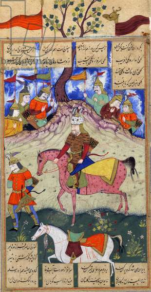 Rustam captures Kamos, from an illustrated manuscript of the Shanama by Ferdowsi c.1620-40 (gouache on paper)
