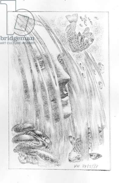Eluard and Waterfall, 1937 (drypoint)