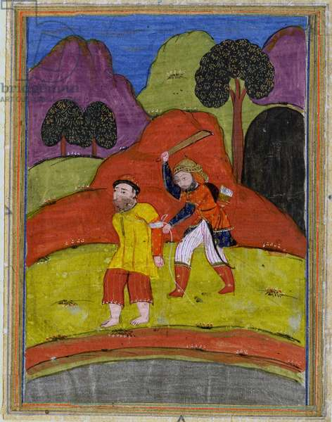 Rustam catches Awlad, from a lost manuscript of the Shanama by Ferdowsi c.19th century (gouache on paper)