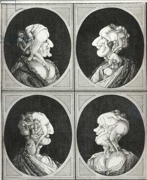 Phallic Portraits, late 18th century (stipple engraving & etching)