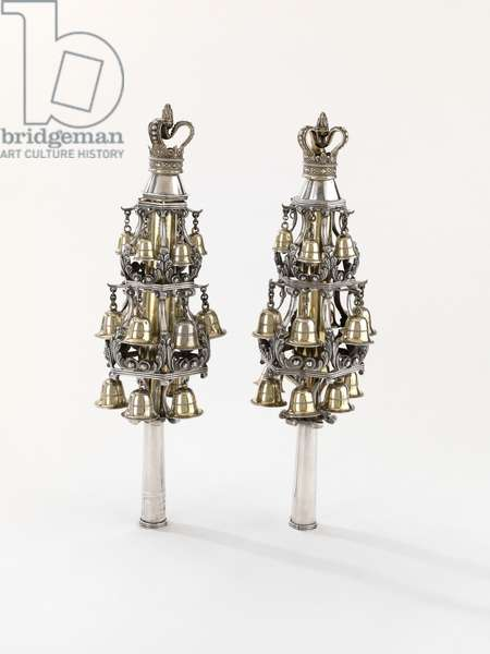 Torah finials, 1805 (silver, repousse, cast, pierced and partly gilt)