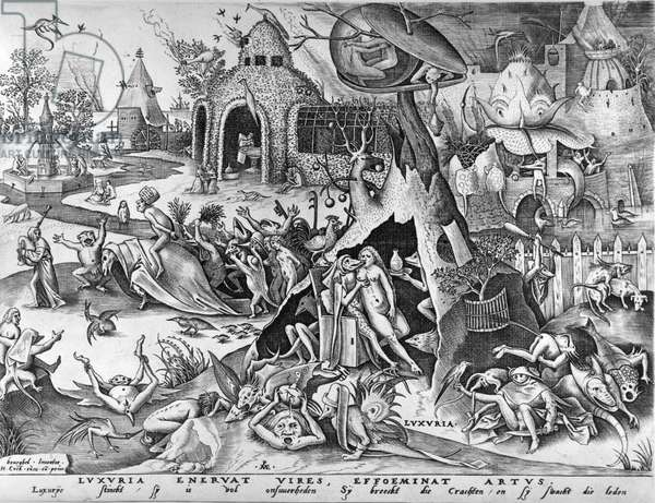 Lust, from The Seven Deadly Sins, engraved by Pieter ven der Heyden, 1558 (engraving)