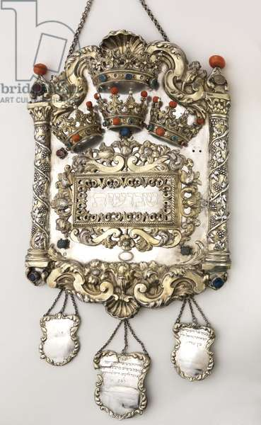 Torah shield decorated with four crowns, late 17th century (mixed media)