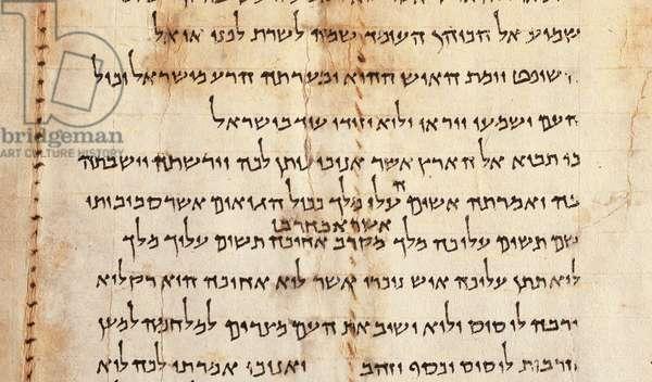 Temple Scroll, detail from col. LVI, Qumram, c.1st century BC - 1st century AD (parchment)