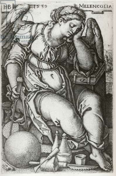 Melancholia, 1539 (engraving) (b/w photo)